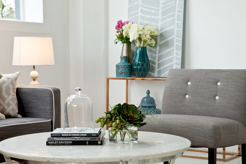 Small plant on a white marble coffee table, property styling shot