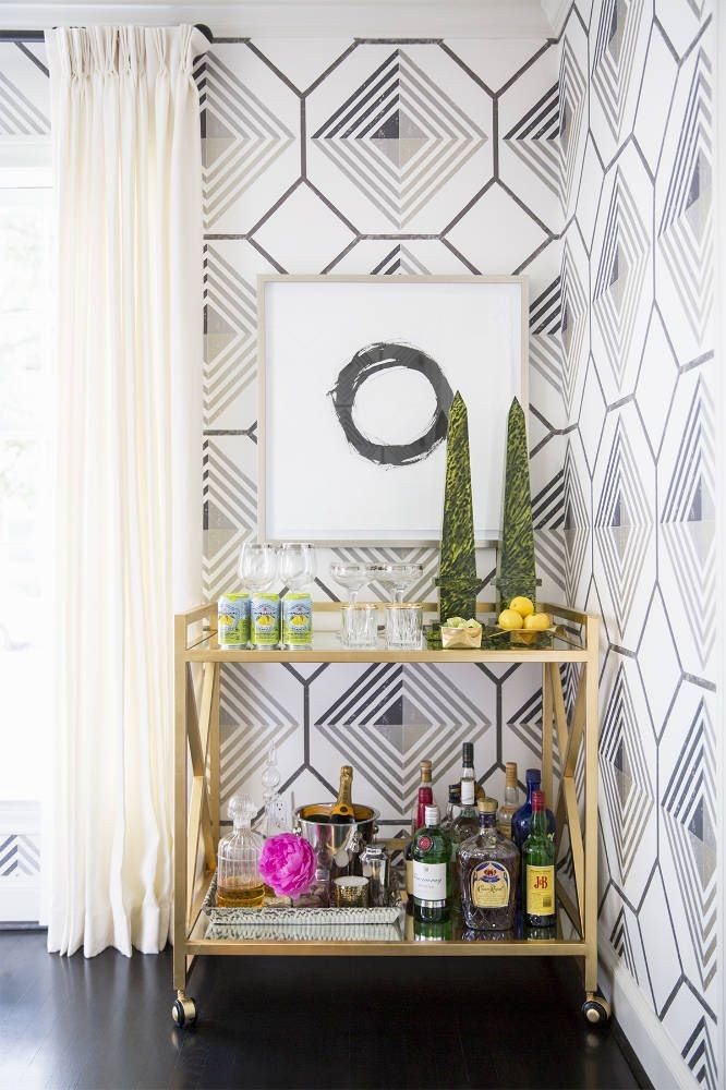 gold leaf bar cart