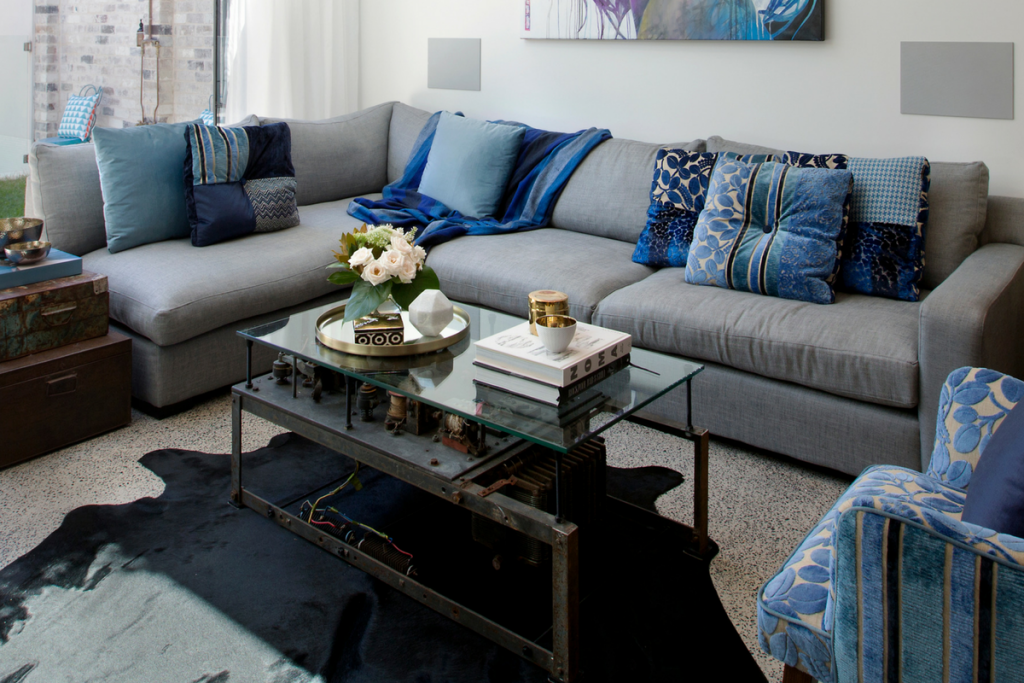vault interiors property styling bold rich autumn colours blue couch