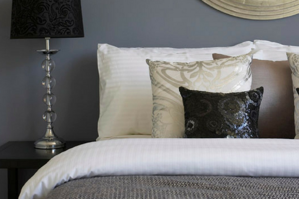 glam home interiors luxe sequin styling bed cushions